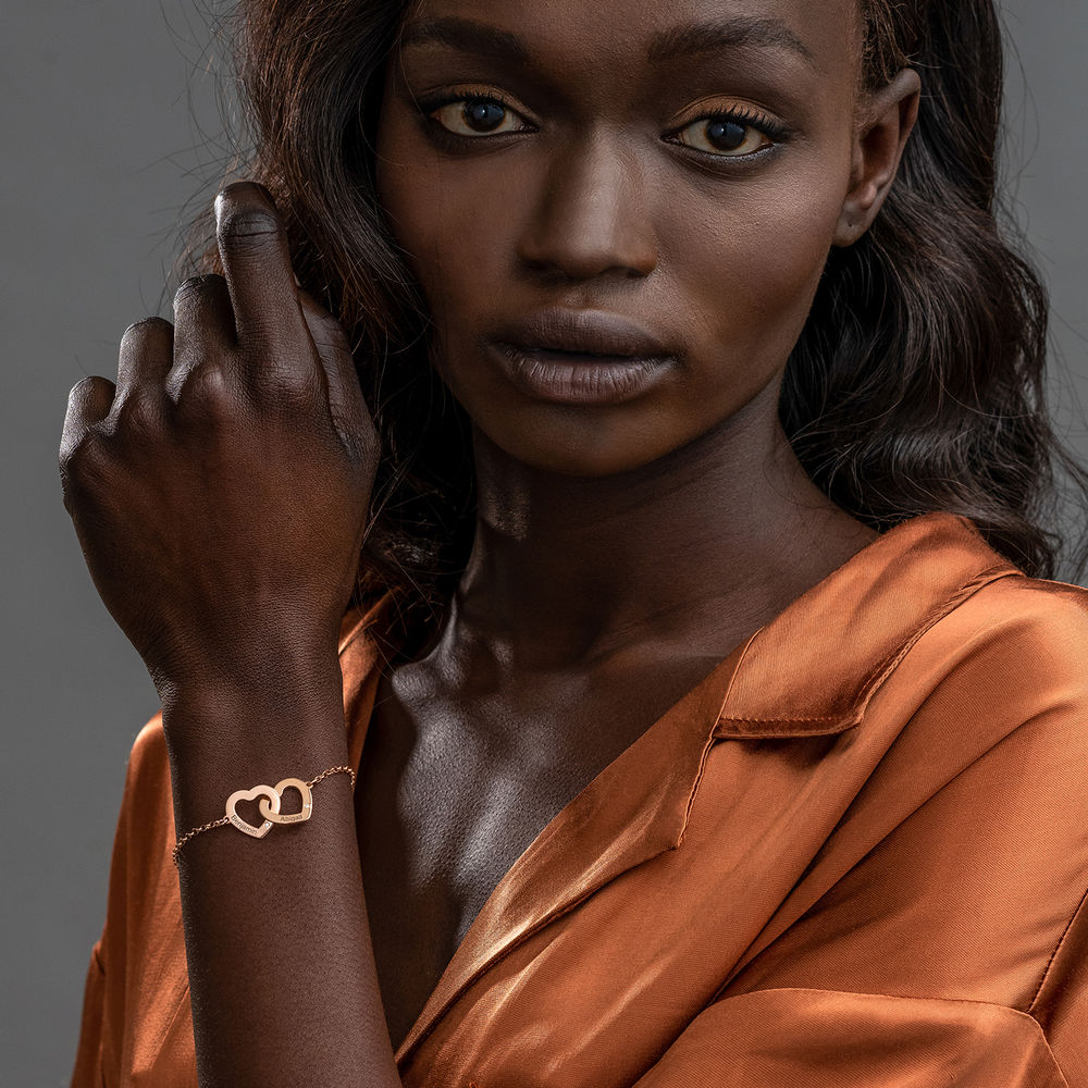 18K Rosé-vergulde Armband met Ineengestrengelde Harten en Diamanten - 1