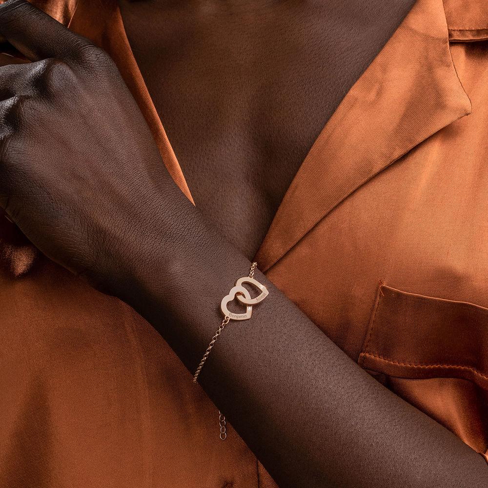 18K Rosé-vergulde Armband met Ineengestrengelde Harten en Diamanten - 2