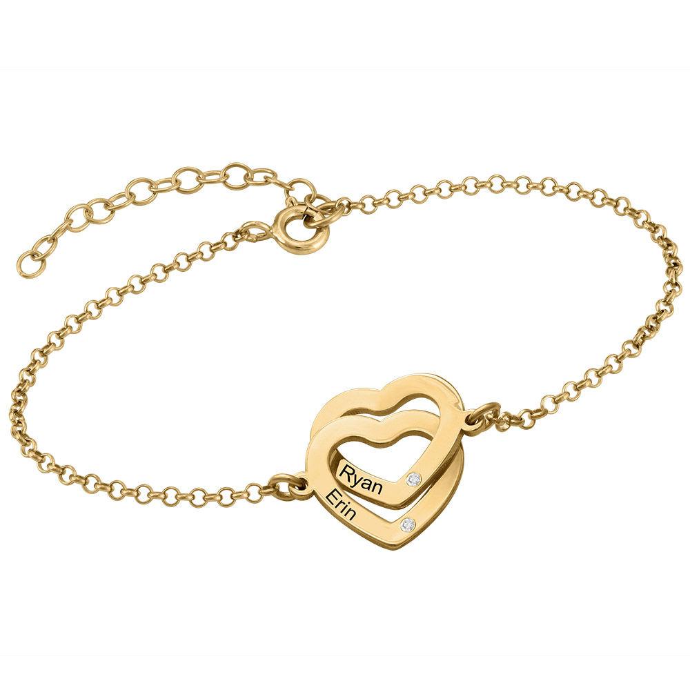 Armband met Ineengestrengelde Harten en Diamanten in Verguld Goud