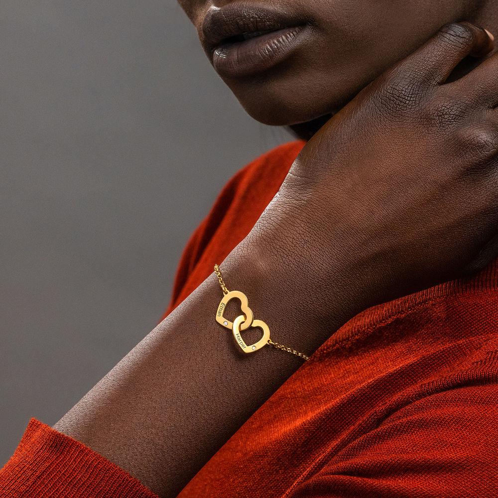 Armband met Ineengestrengelde Harten en Diamanten in Verguld Goud - 2