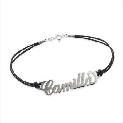 """Zilveren (0.925) """"Carrie""""stijl Naam Armband met Lederachtig Koord"""