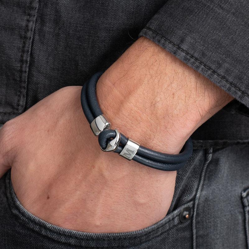 Heren armband met anker en gegraveerd initiaal in RVS - 3