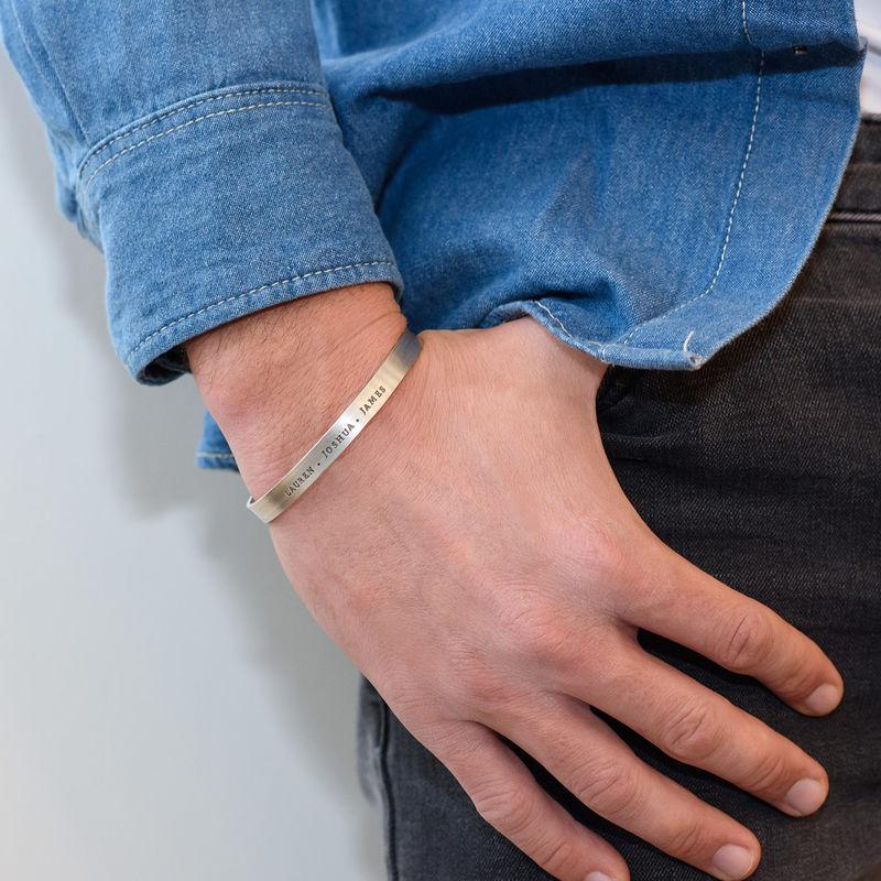 Gegraveerde mannen-armband  in zilveren uitvoering - 2