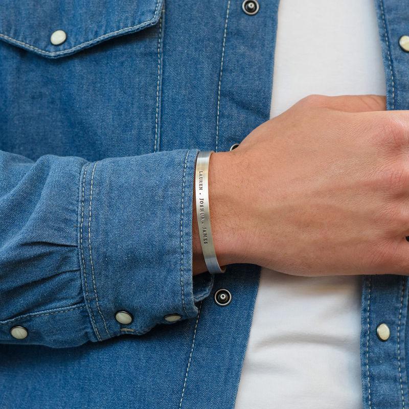 Gegraveerde mannen-armband  in zilveren uitvoering - 3