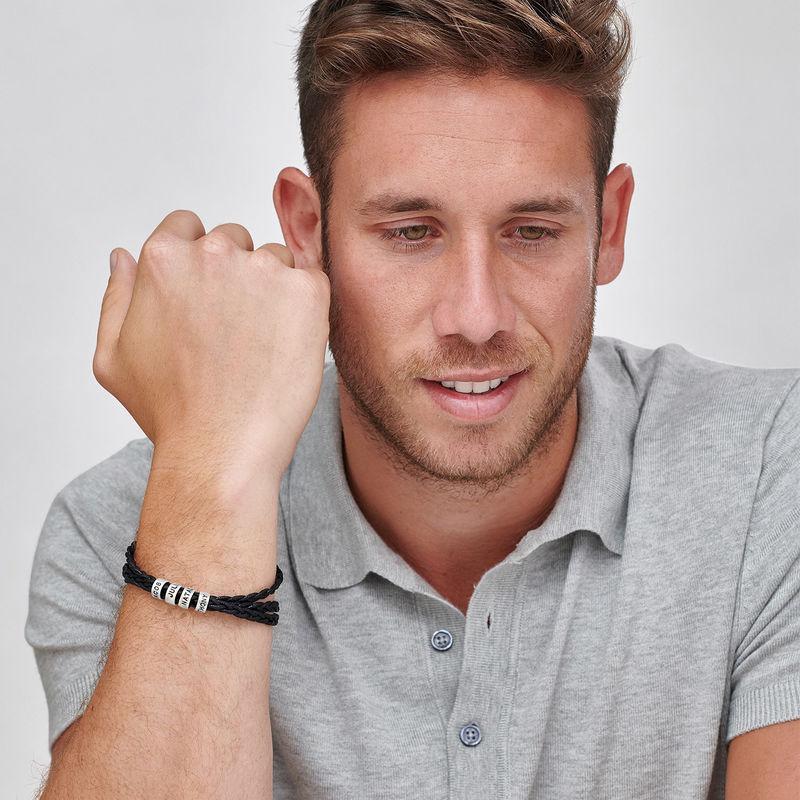 Heren armband met kleine gepersonaliseerde zilveren kralen - 2