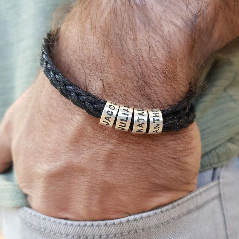 Heren armband met kleine gepersonaliseerde zilveren kralen - 4
