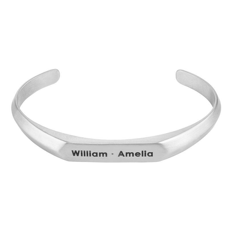 Smalle heren manchet armband in Sterling zilveren uitvoering
