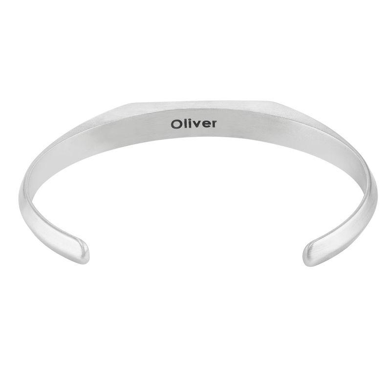 Smalle heren manchet armband in Sterling zilveren uitvoering - 1