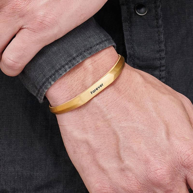 Smalle heren manchet armband in vergulde uitvoering - 2
