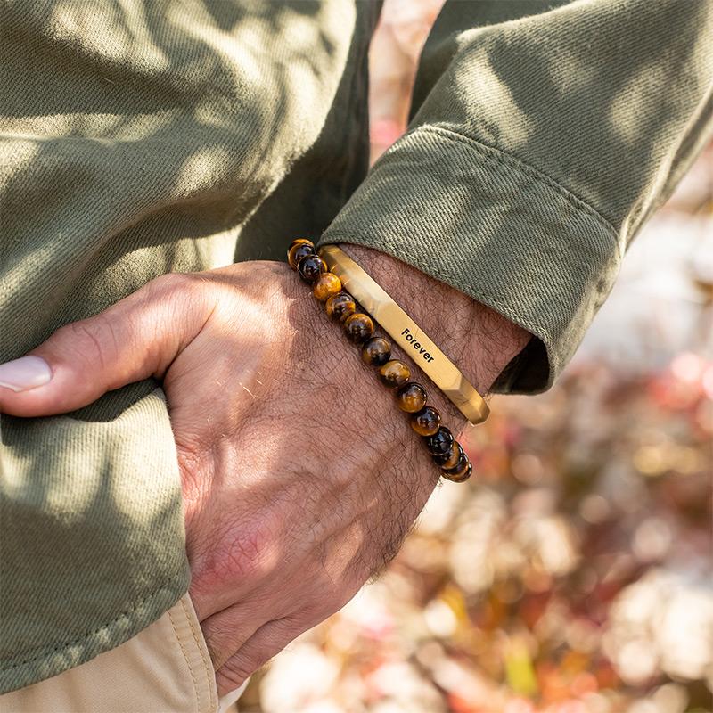 Smalle heren manchet armband in vergulde uitvoering - 3
