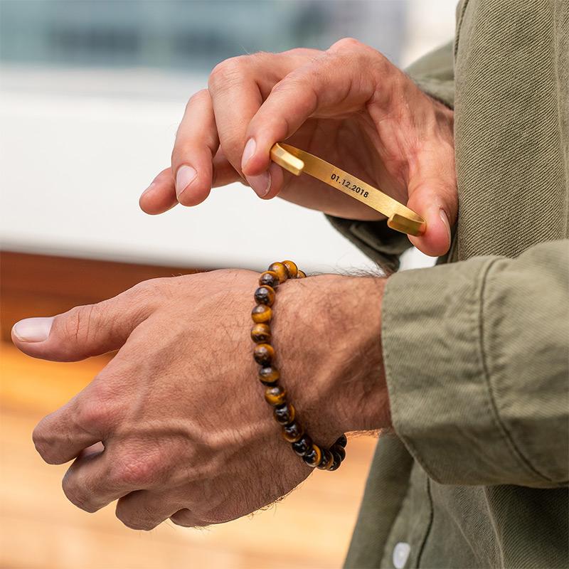 Smalle heren manchet armband in vergulde uitvoering - 4