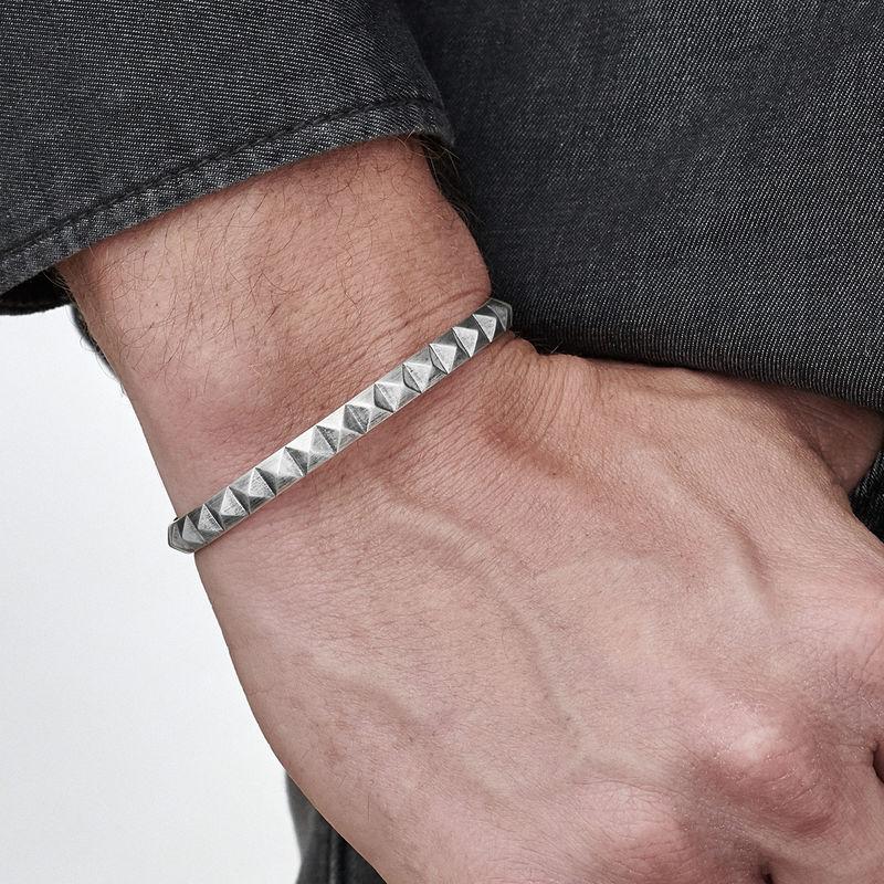 Beslagen open manchet heren armband - 2
