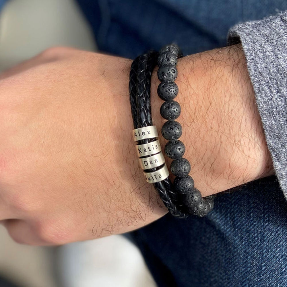 Gevlochten zwarte leren armband voor heren met kleine gepersonaliseerde zilveren kralen - 3