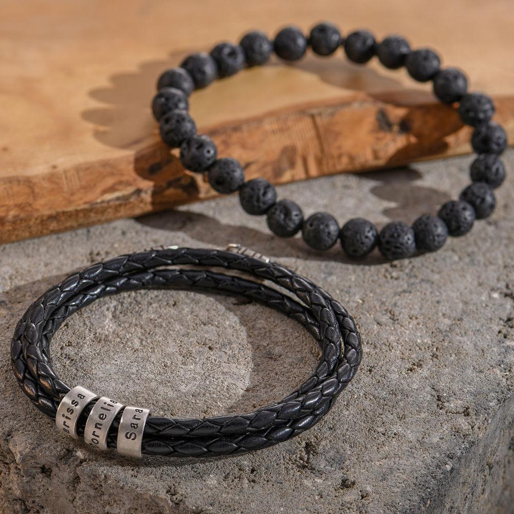 Gevlochten zwarte leren armband voor heren met kleine gepersonaliseerde zilveren kralen - 4