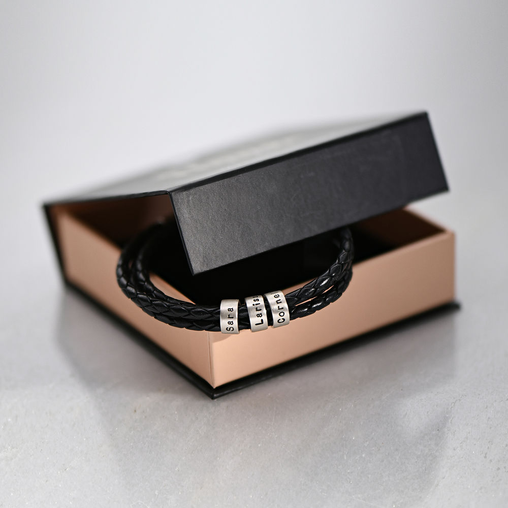 Gevlochten zwarte leren armband voor heren met kleine gepersonaliseerde zilveren kralen - 6