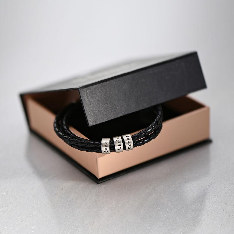 Gevlochten zwarte leren armband voor heren met kleine gepersonaliseerde zilveren kralen - 7