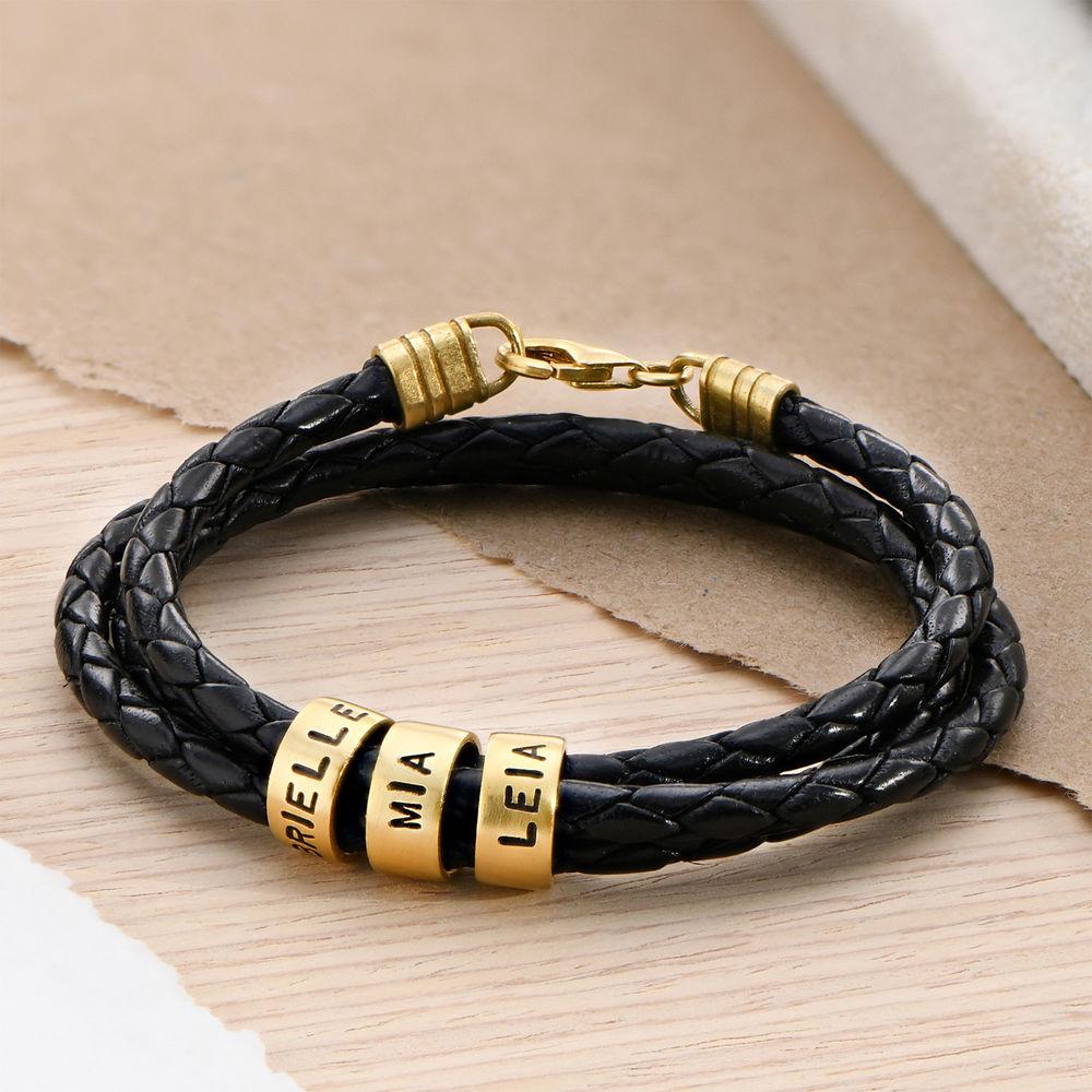 Gevlochten Zwarte Leren Armband voor Heren met Kleine Gepersonaliseerde Kralen in 18K Goud Verguld - 1