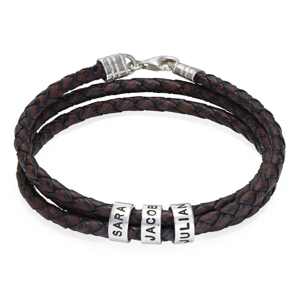 Gevlochten bruine leren armband voor heren met kleine gepersonaliseerde zilveren kralen