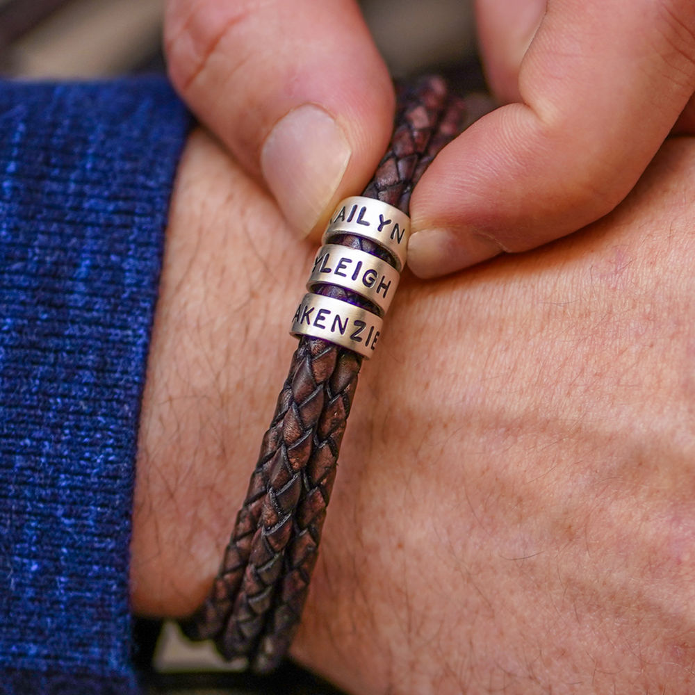 Gevlochten bruine leren armband voor heren met kleine gepersonaliseerde zilveren kralen - 3
