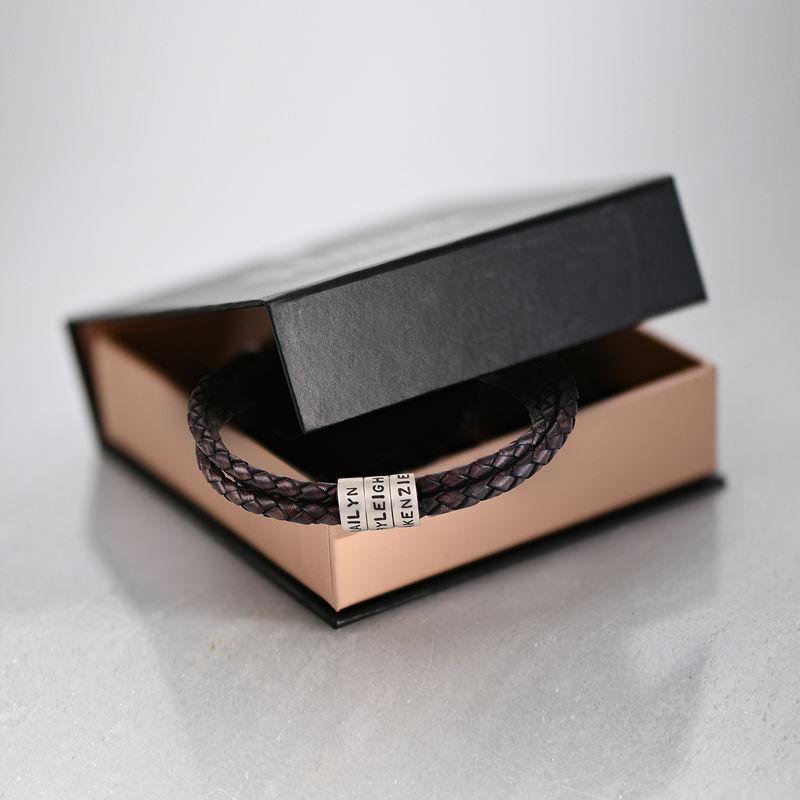 Gevlochten bruine leren armband voor heren met kleine gepersonaliseerde zilveren kralen - 6