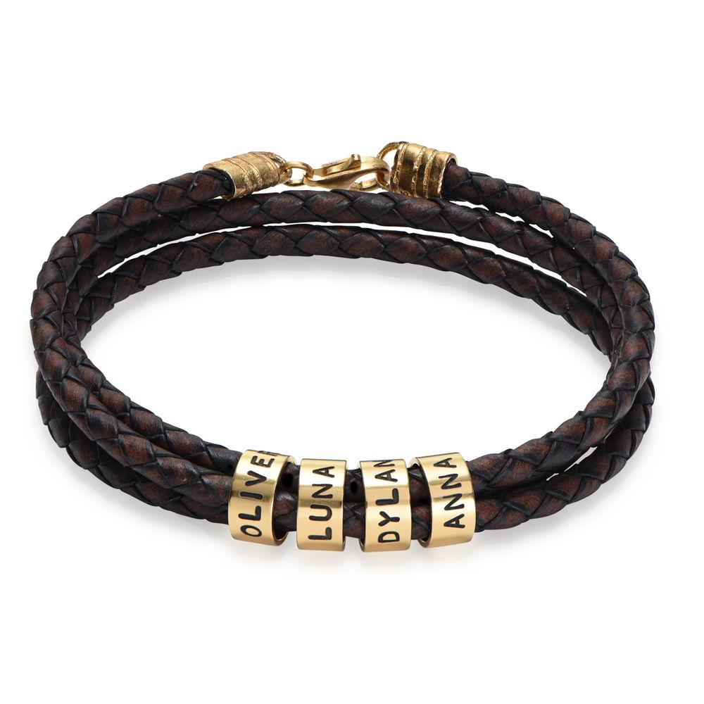 Gevlochten Bruine Leren Armband voor Heren met Kleine Gepersonaliseerde Kralen in 18K Goud Verguld