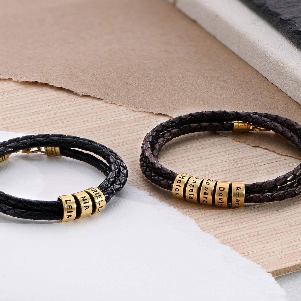 Gevlochten Bruine Leren Armband voor Heren met Kleine Gepersonaliseerde Kralen in 18K Goud Vermeil - 3