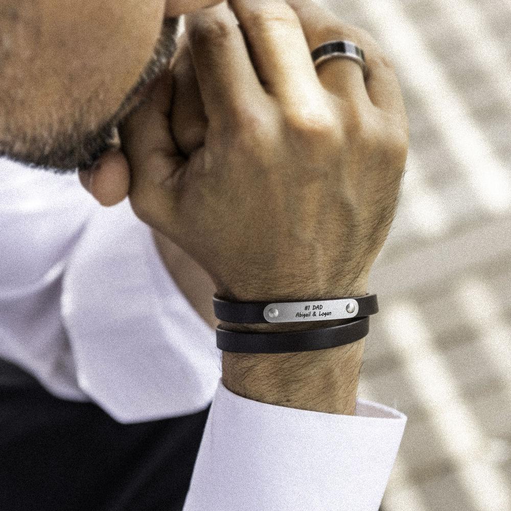 Gegraveerde heren armband en bruine leer - 5