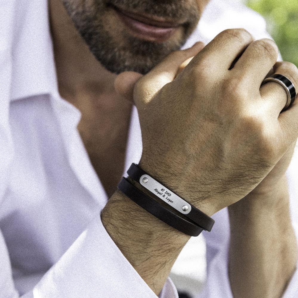 Gegraveerde heren armband en bruine leer - 6