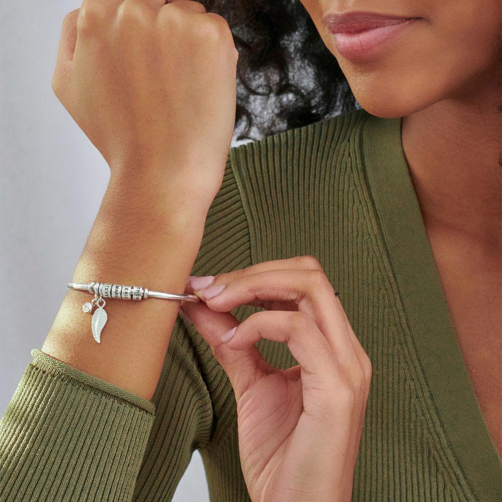 Gegraveerde Cirkel Hanger Linda™ Armband met Blad en Persoonlijke Kralen in Sterling Zilver met Diamanten - 3