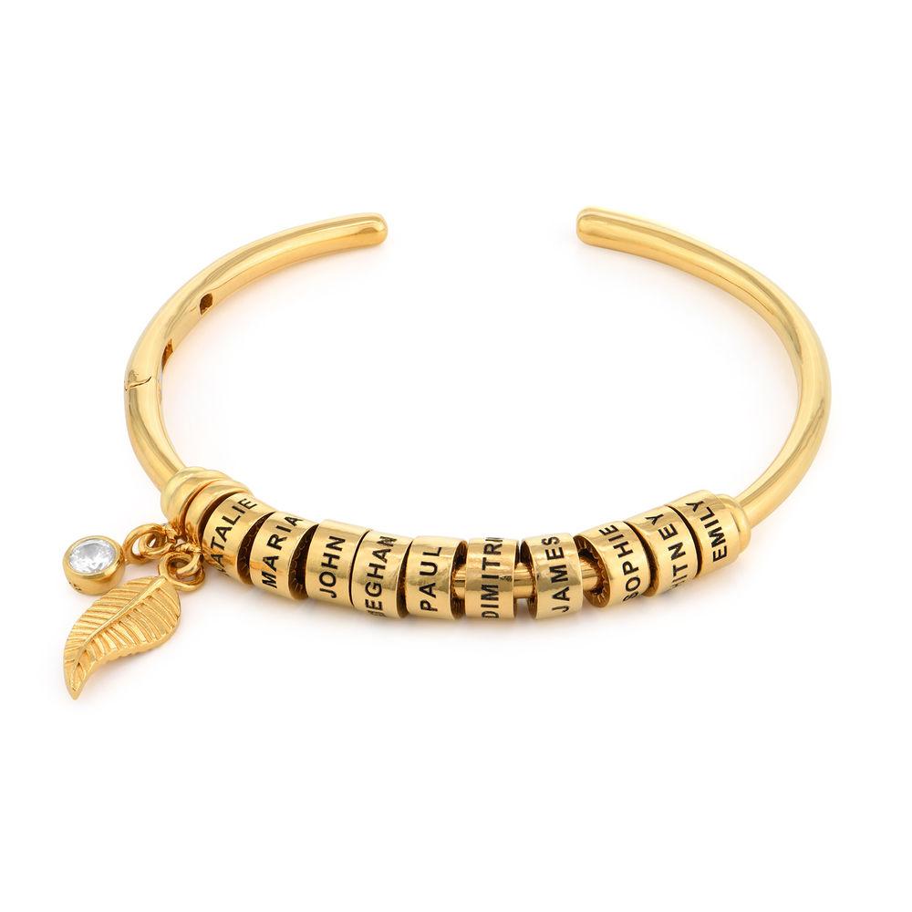 Gegraveerde Cirkel Hanger Linda™ Armband met Blad en Persoonlijke Kralen in 18K Goud Verguld met Diamanten - 1