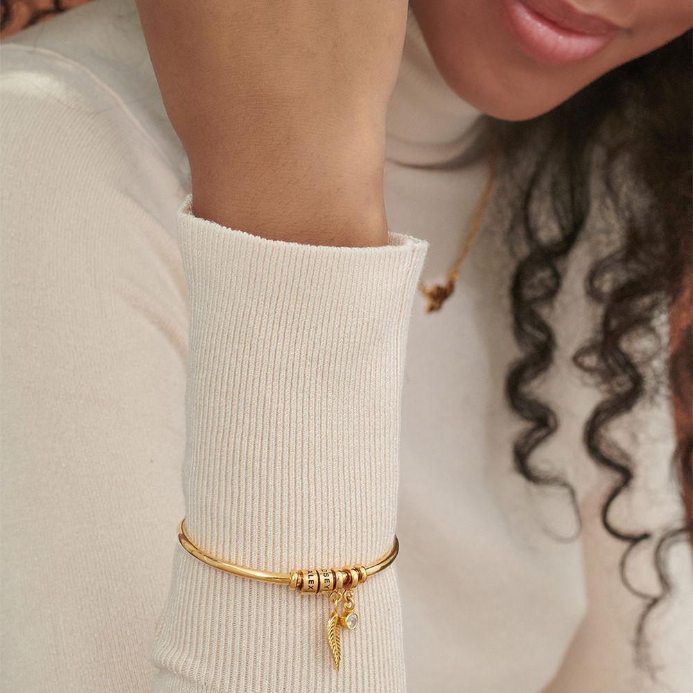Gegraveerde Cirkel Hanger Linda™ Armband met Blad en Persoonlijke Kralen in 18K Goud Verguld met Diamanten - 3