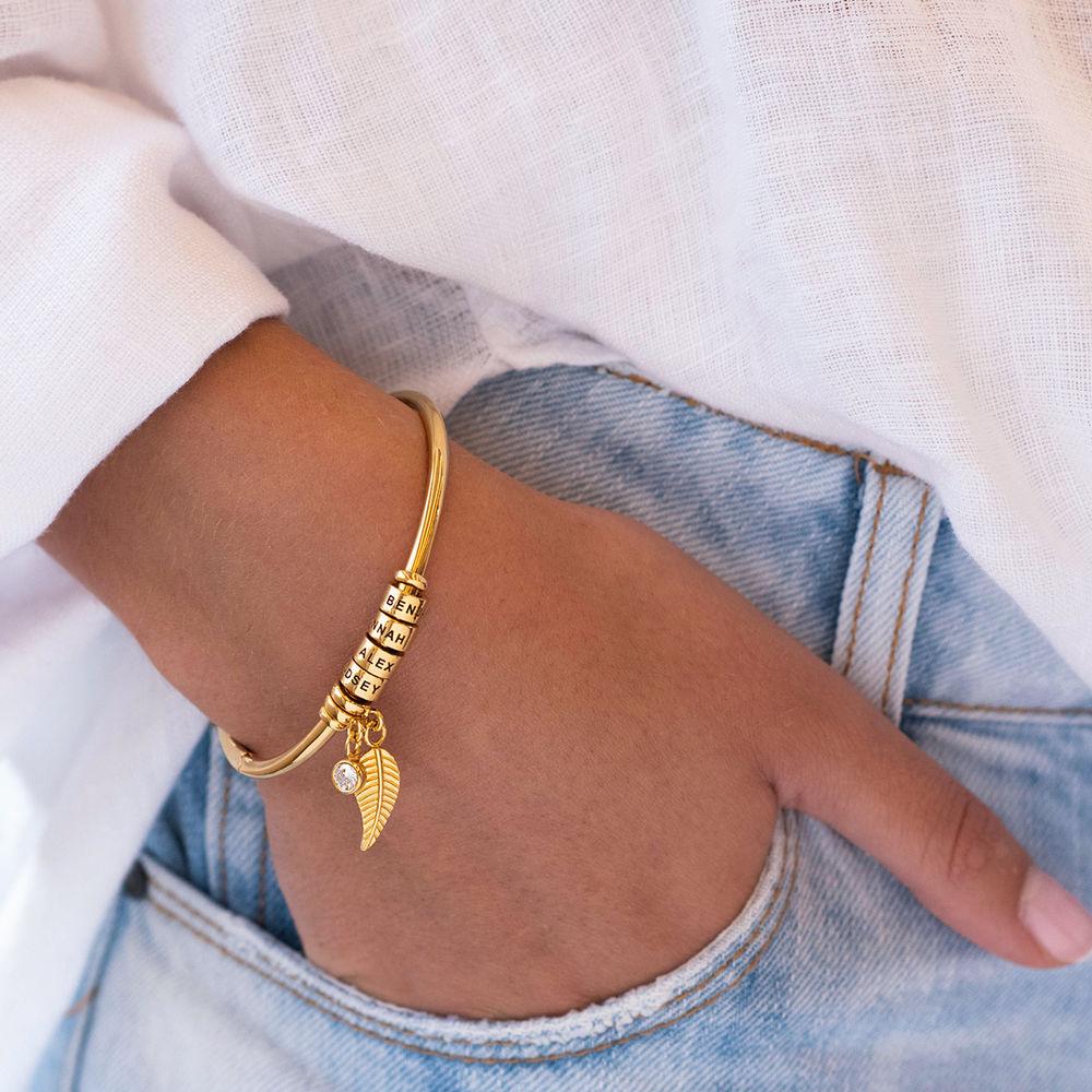 Gegraveerde Cirkel Hanger Linda™ Armband met Blad en Persoonlijke Kralen in 18K Goud Verguld met Diamanten - 4