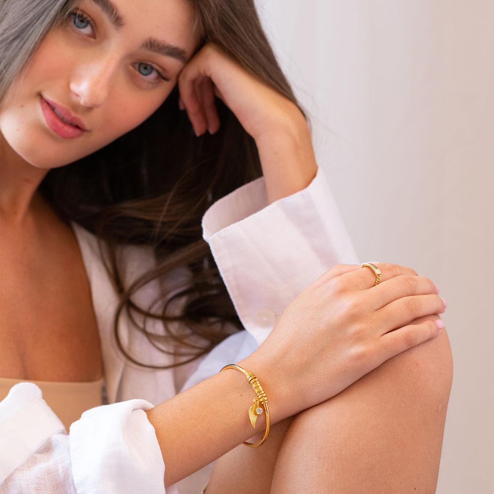 Gegraveerde Cirkel Hanger Linda™ Armband met Blad en Persoonlijke Kralen in 18K Goud Verguld met Diamanten - 5