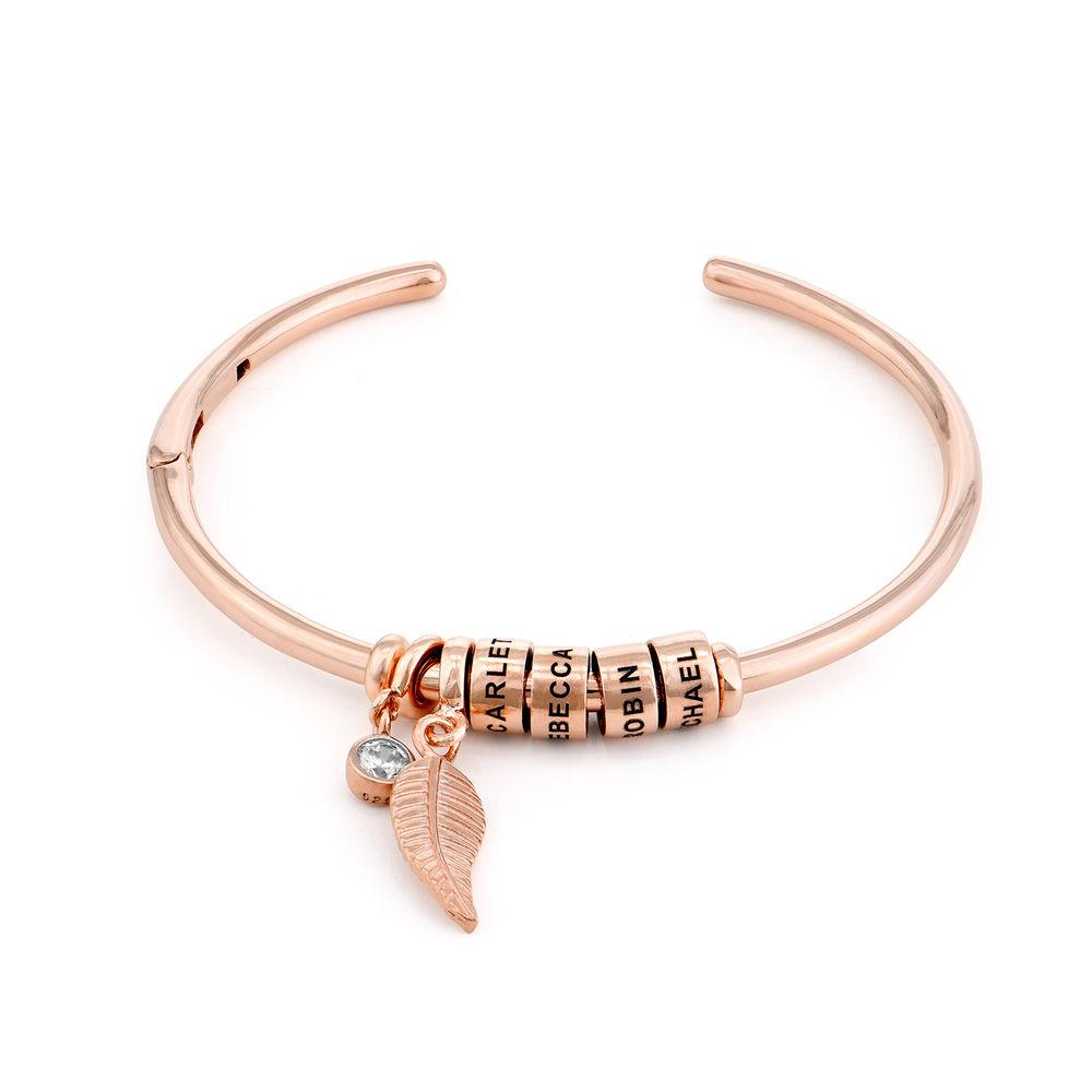 Gegraveerde Cirkel Hanger Linda™ Armband met Blad en Persoonlijke Kralen in 18K Rosé Goud Verguld met Diamanten
