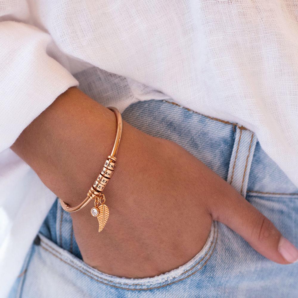 Gegraveerde Cirkel Hanger Linda™ Armband met Blad en Persoonlijke Kralen in 18K Rosé Goud Verguld met Diamanten - 2