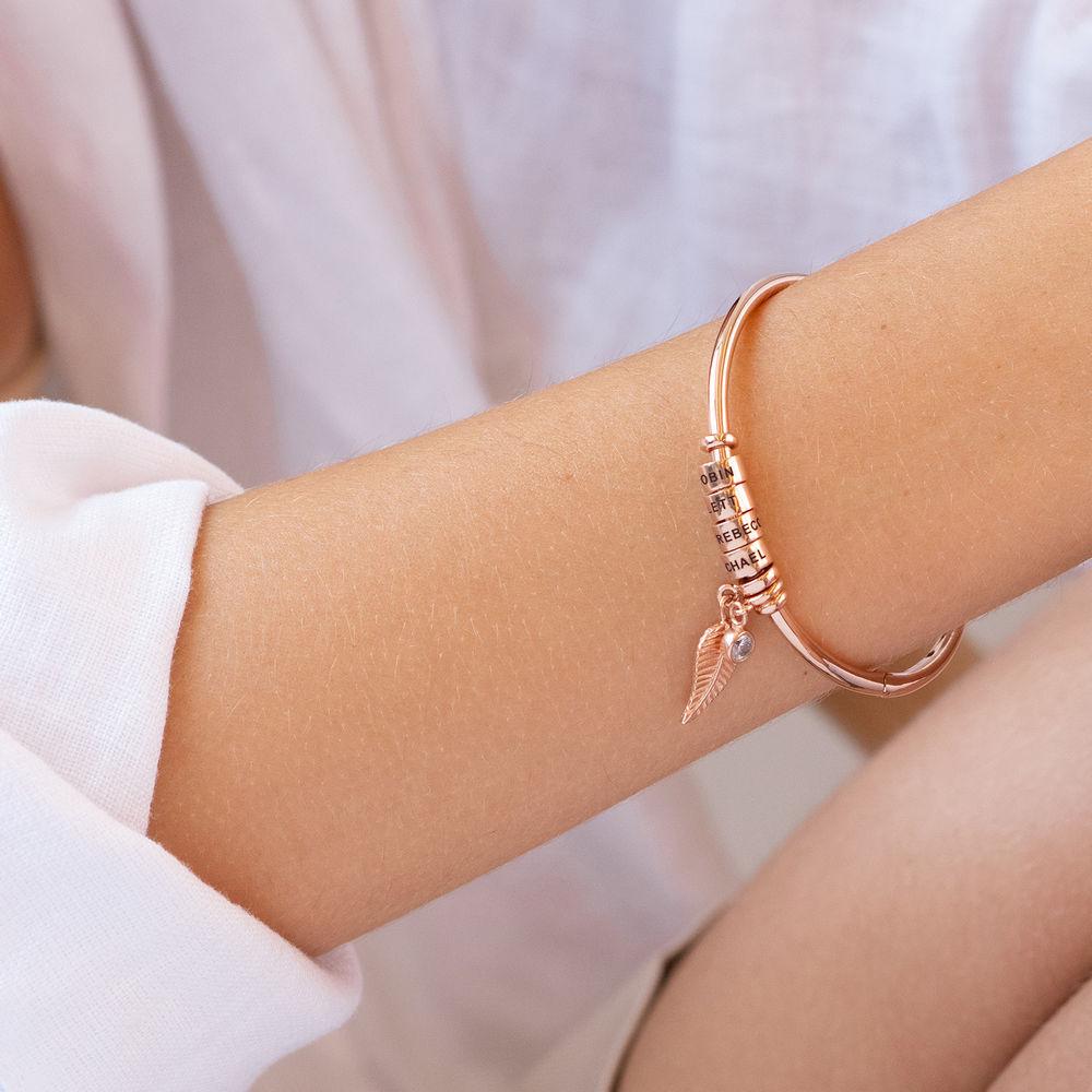 Gegraveerde Cirkel Hanger Linda™ Armband met Blad en Persoonlijke Kralen in 18K Rosé Goud Verguld met Diamanten - 3