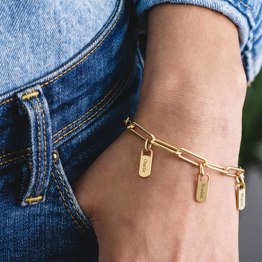 Chain Link Armband met gepersonaliseerde bedeltjes in vergulde uitvoering - 2