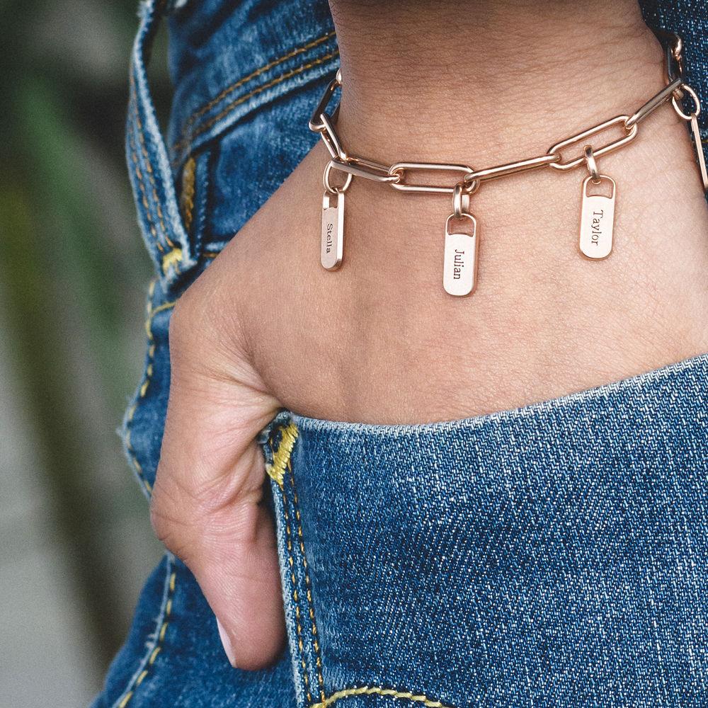 Chain Link Armband met gepersonaliseerde bedeltjes in rosé-vergulde uitvoering - 1