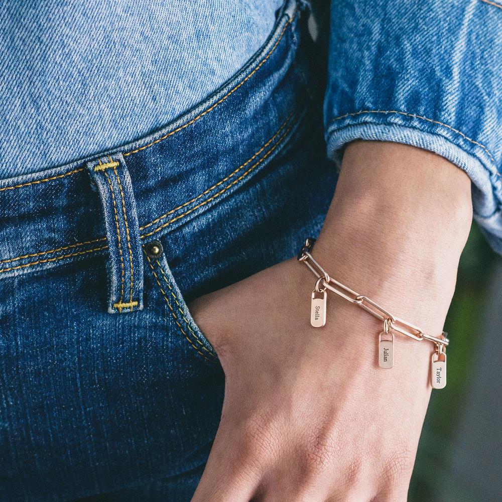Chain Link Armband met gepersonaliseerde bedeltjes in rosé-vergulde uitvoering - 2