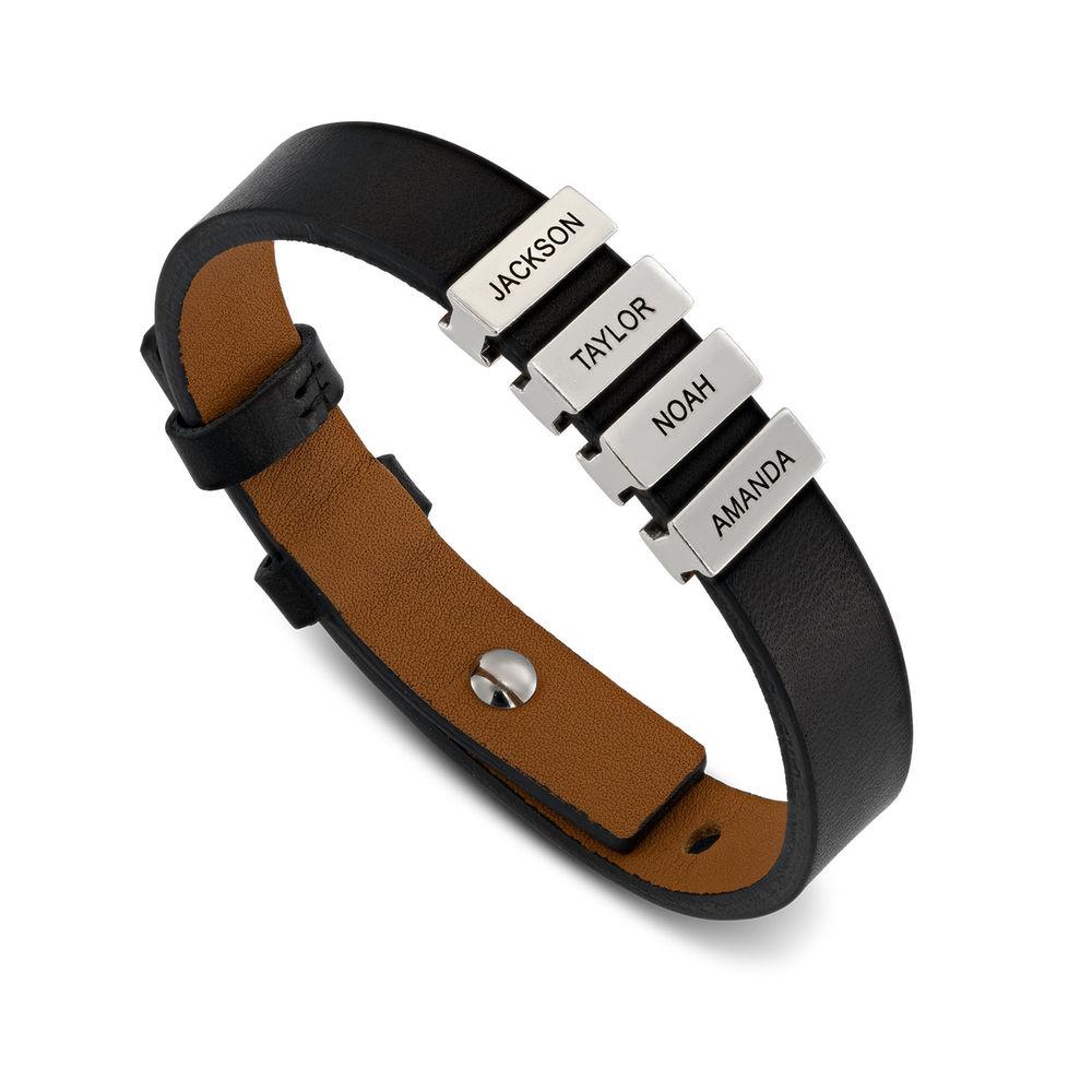 Zwarte leren armband voor heren met gepersonaliseerde zilveren kralen - 1