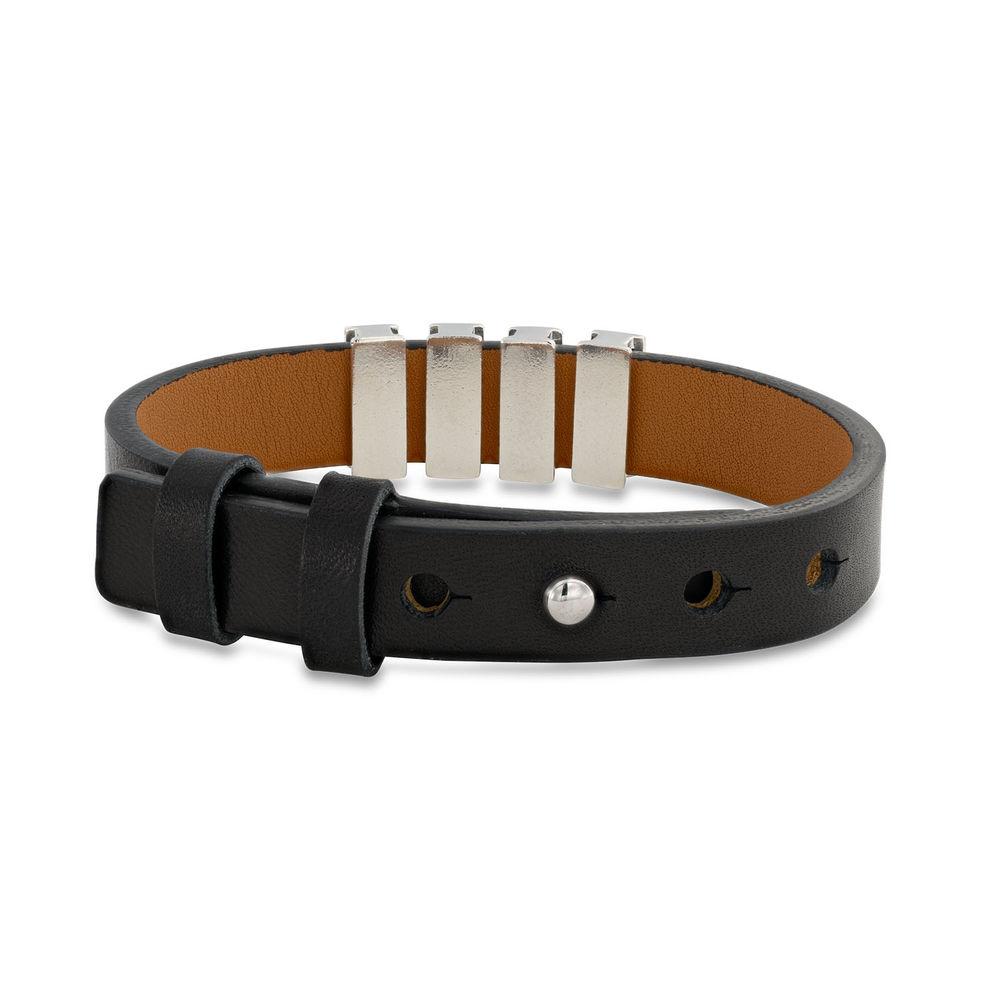 Zwarte leren armband voor heren met gepersonaliseerde zilveren kralen - 2