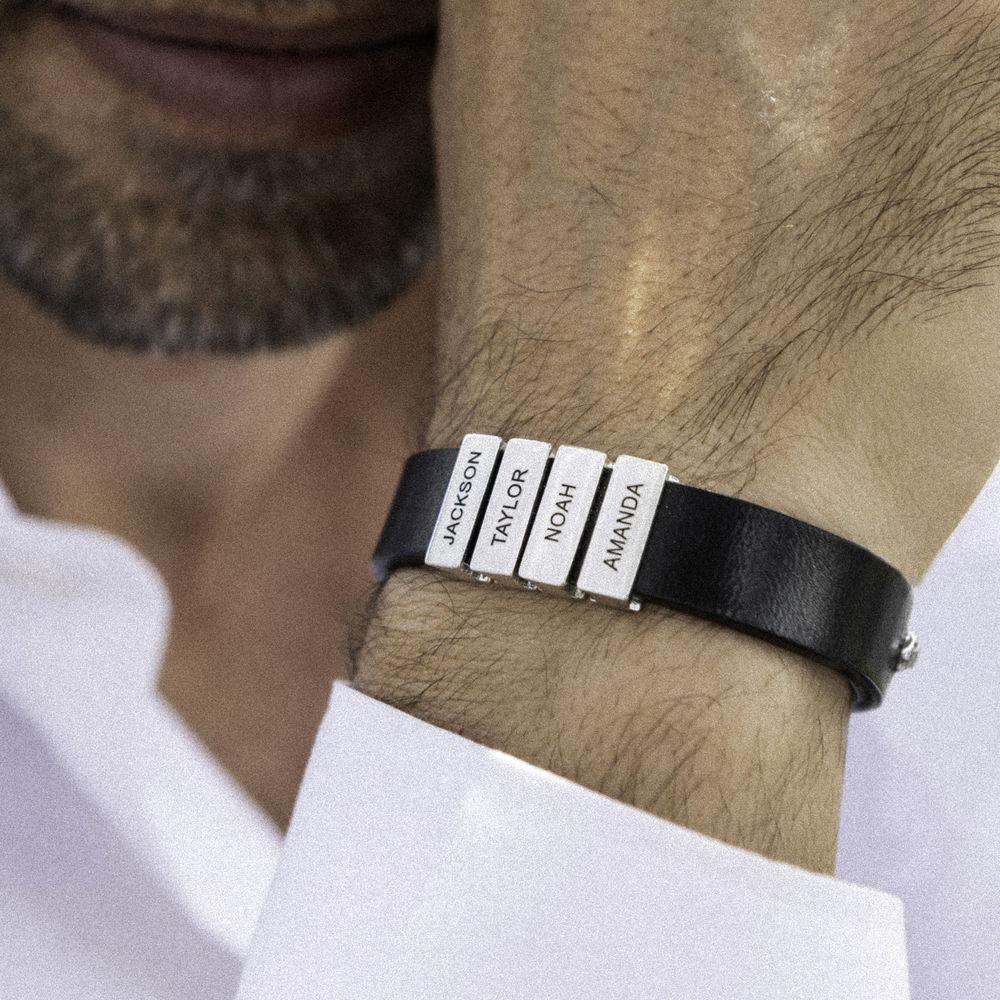Zwarte leren armband voor heren met gepersonaliseerde zilveren kralen - 4