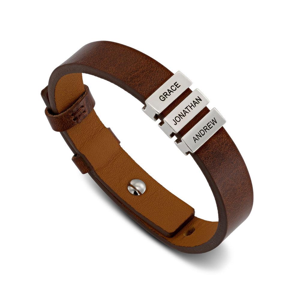Bruine leren armband voor heren met gepersonaliseerde zilveren kralen - 1