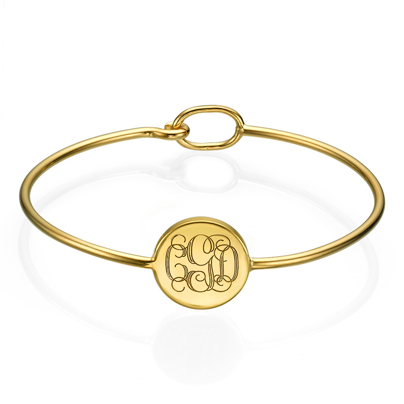 Ronde Monogram Bangle Armband in Goudkleur