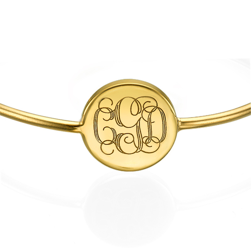 Ronde Monogram Bangle Armband in Goudkleur - 1