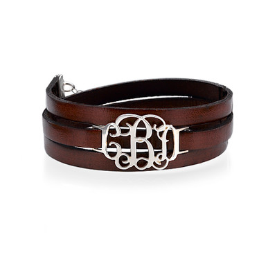 Wikkel Monogram Lederen Armband