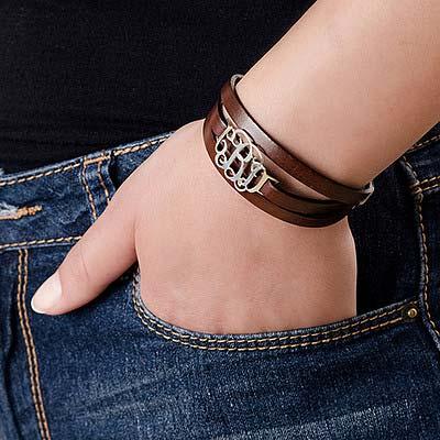 Wikkel Monogram Lederen Armband - 2