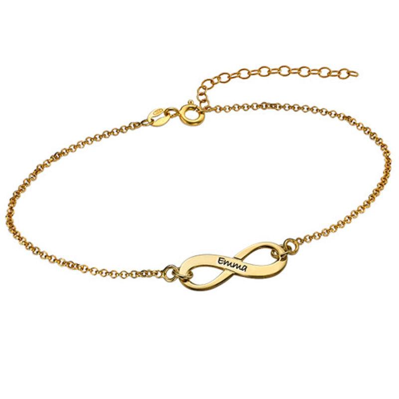 Graveerbare Infinity Armband in Goudkleur