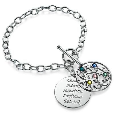 Filigraan Stamboom Armband met Geboortestenen in 925 Zilver