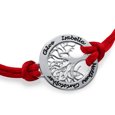 Stamboom Armband in 925 Zilver aan Koord - 1